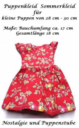 Puppen Kleid rot mit Blumenmuster für kleine Puppen 28 cm - 30 cm, Nr. 191 - Bild vergrößern