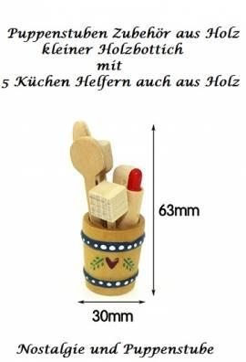 Puppenstuben Zubehör aus Holz, Miniatur Bottich mit 5 Küchen Utensilien, Nr. 198 - Bild vergrößern