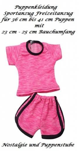 Puppen Kleidung pink Sommeranzug Sportanzug für 36 bis 41 cm Puppen, Nr. 293 - Bild vergrößern