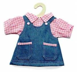 Heless Puppenkleidung, Jeans Trägerkleid mit Bluse für 35 - 45 cm Puppen - Bild vergrößern