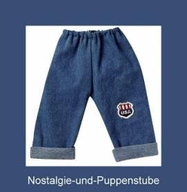 Schwenk Puppenkleidung, Jeanshose mit USA Applikation, Größe 50, für 46 - 50 cm Puppen - Bild vergrößern