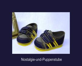 Schwenk 5750 Puppenschuhe blau-gelbe Sportschuhe für ca 8 cm lange Puppenfüße - Bild vergrößern