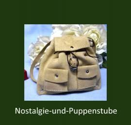 Puppenzubehör, Puppen Rucksack aus echtem Wildleder, naturfarben - Bild vergrößern