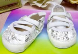 Puppen Schuhe Ballerinas weiß Glitzer für Puppen von 38 - 45 cm Heless 845   - Bild vergrößern