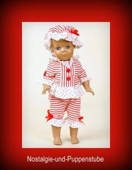 Schildkröt Puppenkleidung, Badeanzug Oldfashion, rot weiss, für 34 cm Puppen