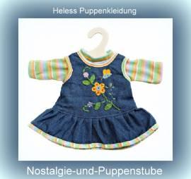 Heless Puppenkleidung für 35 cm bis 45 cm Puppen, blaues Trägerkleid mit T-Shirt, Jeans Trägerkleid