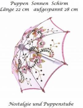 Puppen Sonnenschirm Stockschirm Schirm Glitzer rosa mit Pailletten 1024