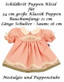 Puppenkleider Puppen Kleid lachsfarben mit Stickerei für 34 cm Klassik Puppen Schildkröt 34832