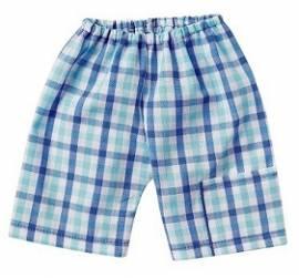 Schwenk Puppenkleidung, Shorts blau-weiß kariert, Größe 43, für 42 - 45 cm Puppen - Bild vergrößern