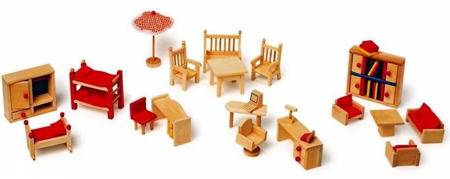 22- teiliges Set, Möbel aus Holz fürs Puppenhaus , 3 Zimmer, mit ...