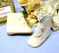 Schildkröt Puppenkleidung, beige Knopf Stiefel aus feinem Nappaleder